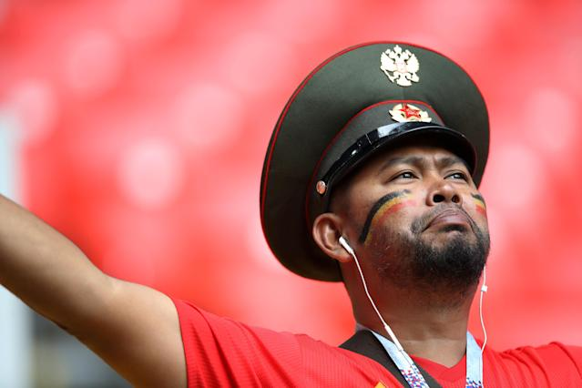 Soccer Football - World Cup - Group G - Belgium vs Tunisia - Spartak Stadium, Moscow, Russia - June 23, 2018 Belgium fan inside the stadium before the match REUTERS/Carl Recine TPX IMAGES OF THE DAY