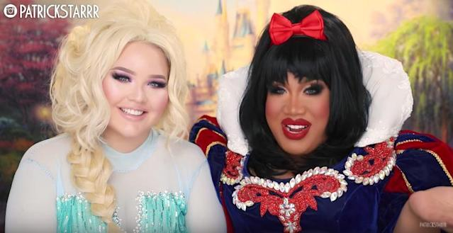 NikkieTutorials and Patrick Starrr as Disney princesses. (Photo: Youtube)