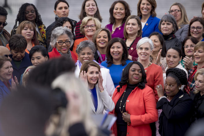House Speaker Nancy Pelosi arrives for a group photo with the House Democratic women members of the 116th Congress on Capitol Hill in Washington, D.C., in January. (AP Photo/Andrew Harnik)