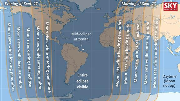 This map shows the areas of the world from which viewers can see the total lunar eclipse. The Americas will have a particularly good view, especially the eastern parts.