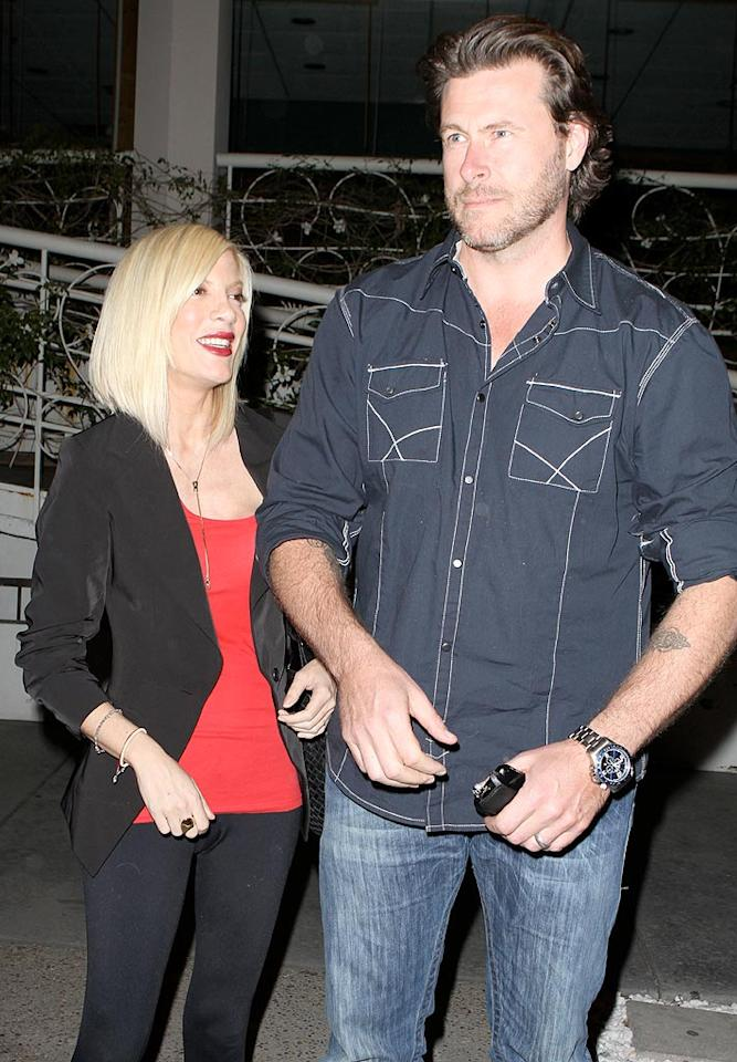 "Tori Spelling and her hubby Dean McDermott grabbed dinner at Madeo in West Hollywood. Must be a date night, because they left their tots Liam and Stella at home. ICE/<a href=""http://www.x17online.com"" target=""new"">X17 Online</a> - March 19, 2010"