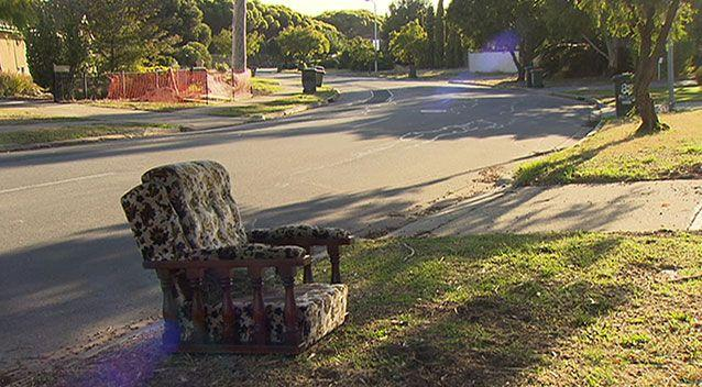 The arm chair left abandoned on the roadside early this morning. Photo: 7News.