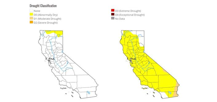 The map on the left shows U.S. Drought Monitor data from Dec. 10, revealing that only the further northern parts of the state are abnormally dry. The man on the right, from Nov. 26, shows most of the state suffering abnormally dry conditions.
