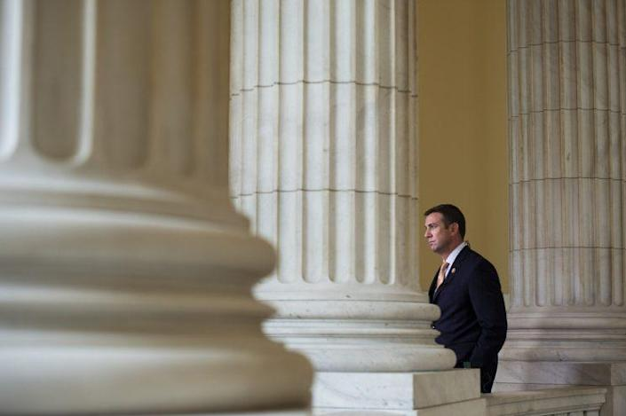 Rep. Duncan Hunter is interviewed by a television crew in the Cannon rotunda in Washington on Sept. 30, 2015. (Photo: Tom Williams/CQ Roll Call/Getty Images)