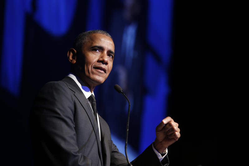 """FILE - In this Dec. 12, 2018, file photo former President Barack Obama accepts the Robert F. Kennedy Human Rights Ripple of Hope Award at a ceremony in New York. On Saturday, May 16, 2020, Obama plans to speak during """"Show Me Your Walk, HBCU Edition,"""" a two-hour livestreaming event for historically black colleges and universities broadcast on YouTube, Facebook and Twitter. (AP Photo/Jason DeCrow, File)"""