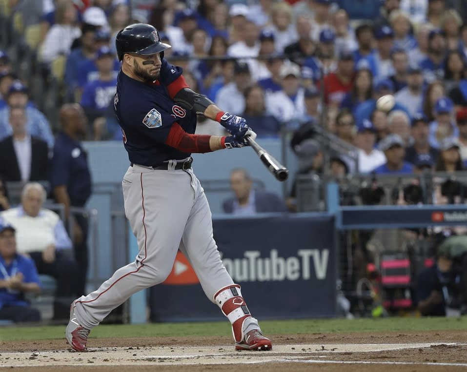 Boston Red Sox's Steve Pearce hits a two-run home run during the first inning in Game 5 of the World Series. (AP)
