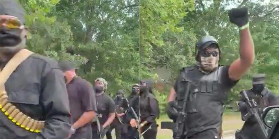 Screenshots showing a group of mostly Black, mostly armed protesters walking toward the Stone Mountain Park in Georgia on July 4, 2020.