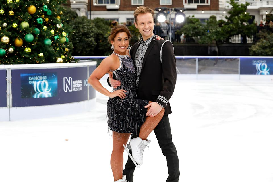 Saira Khan (left) and Mark Hanretty (right) during the press launch for the upcoming series of Dancing On Ice at the Natural History Museum Ice Rink in London. Picture date: Tuesday December 18, 2018. (Photo by David Parry/PA Images via Getty Images)
