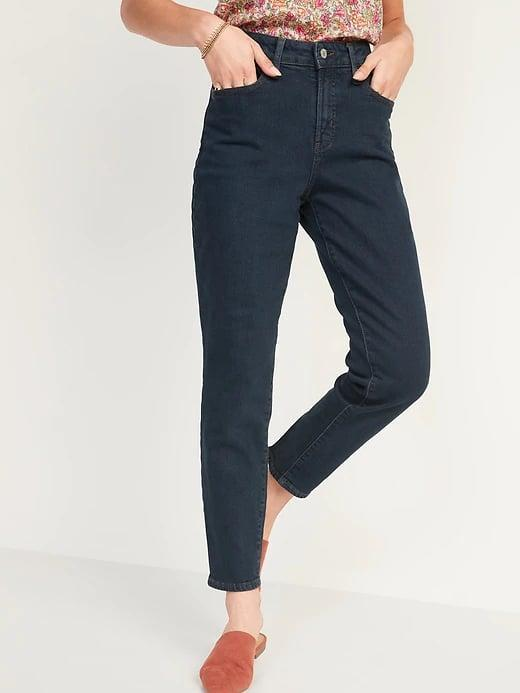 <p>It's so easy to dress these super-straight <span>Old Navy High-Waisted O.G. Straight Dark Wash Jeans</span> ($40) up or down, and the <span>same dark shade and style comes in a curvy cut</span> as well.</p>