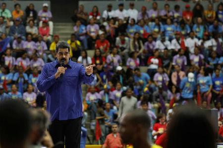 Venezuela's President Nicolas Maduro speaks during an event with supporters of Somos Venezuela (We are Venezuela) movement in Caracas