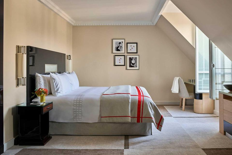 A guest room at the Hotel Plaza Athenee hotel in Paris, voted one of the best hotels in the world