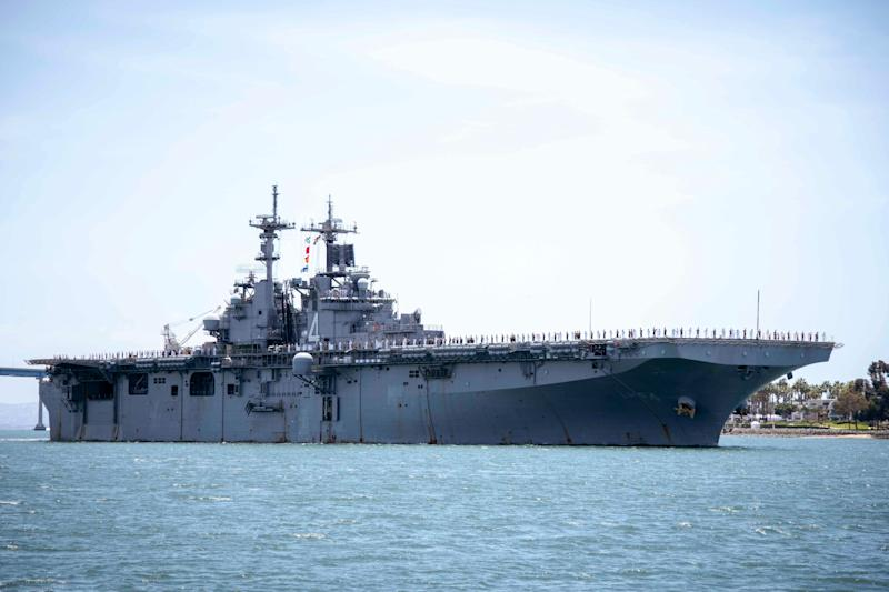 In this May 1, 2019, photo provided by the U.S. Navy, the amphibious assault ship USS Boxer transits the San Diego Bay in California. President Donald Trump says the USS Boxer destroyed an Iranian drone in the Strait of Hormuz amid heightened tensions between the two countries.  (Photo: Associated Press)