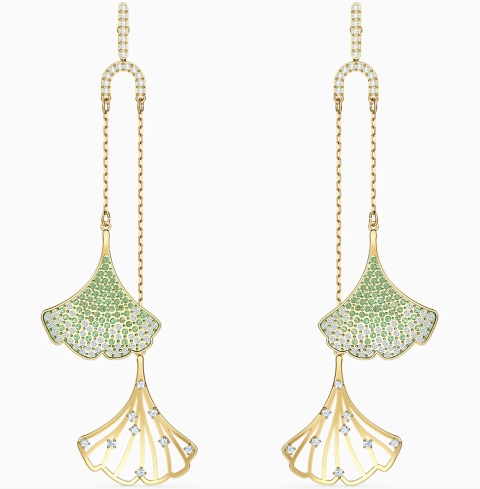 PHOTO: Swarovski. Stunning Gingko Mobile Pierced Earrings, Green, Gold-Tone Plated