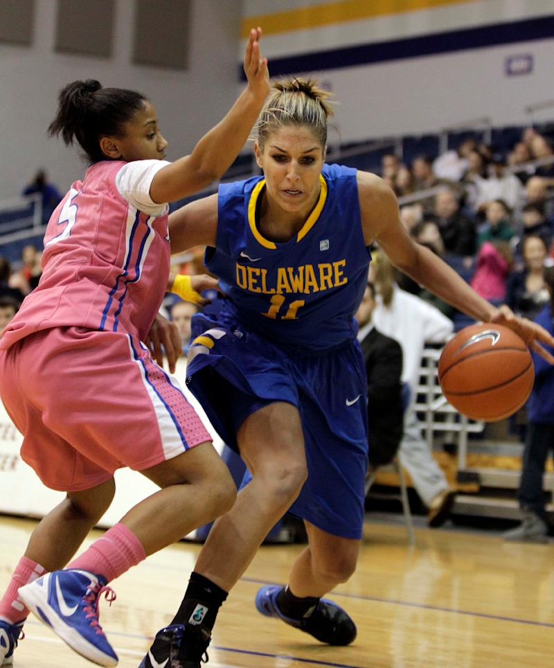 Hofstra Andreana Thomas (5) guards against Delaware forward Elena Delle Donne (11) during the first half of their NCAA college basketball game in Hempstead, N.Y., Thursday, Feb. 16, 2012.  (AP Photo/Kathy Willens)