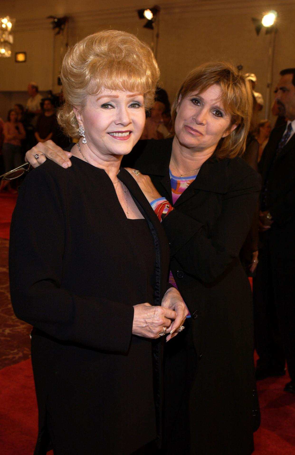 Debbie Reynolds and Carrie Fisher at theSt. Jude Runway for Life Red Carpet at the Beverly Hilton Hotel in Beverly Hills in 2003.