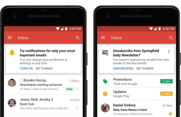 Gmail high-priority notifications and newsletter unsubscribe suggestions