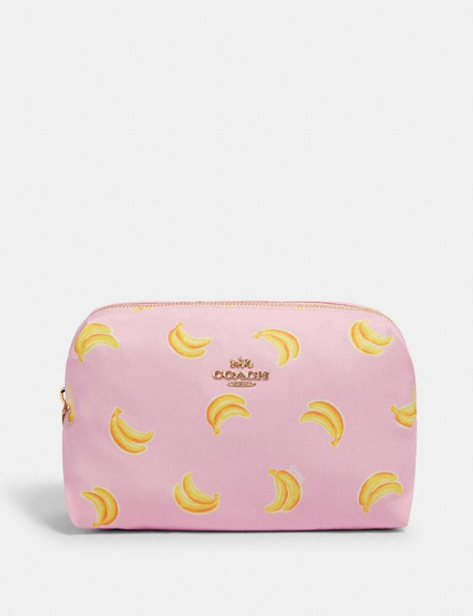 Large Boxy Cosmetic Case With Banana Print