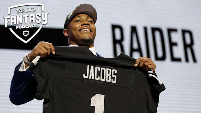 After the injury to Isaiah Crowell, rookie RB Josh Jacobs is suddenly thrust into a lead back role in Oakland. Liz Loza and Matt Harmon discuss his fantasy value on the Yahoo Fantasy Football Podcast. (AP Photo/Mark Humphrey)