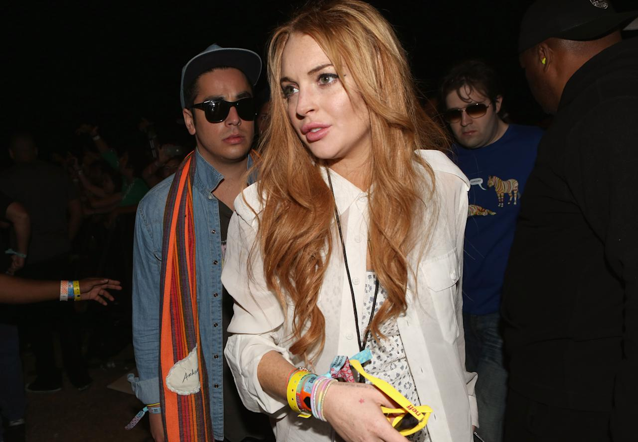 INDIO, CA - APRIL 15:  Actress Lindsey Lohan attends day 3 of the 2012 Coachella Valley Music & Arts Festival at the Empire Polo Field on April 15, 2012 in Indio, California.  (Photo by Christopher Polk/Getty Images for Coachella)