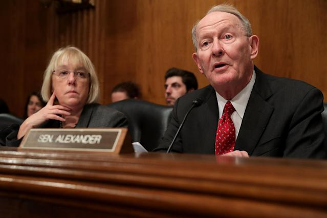 Sen. Lamar Alexander of Tennessee at the confirmation hearings for Betsy DeVos in January. (Photo: Chip Somodevilla/Getty Images)