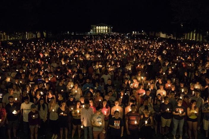 Thousands gathered for poignant candlelit vigil in response to Charlottesville violence on Wednesday night