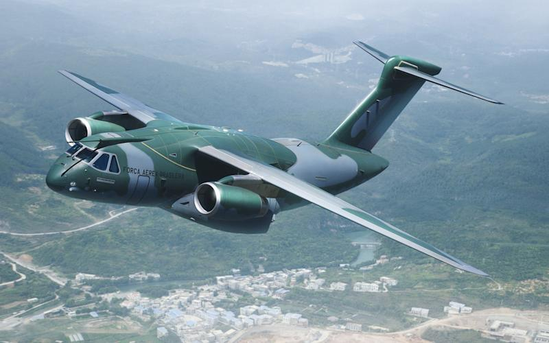 An Embraer KC-390 in camoflauge livery in flight