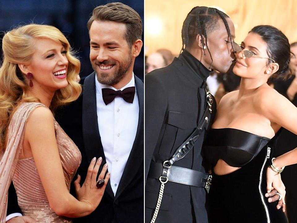 A side-by-side of Blake Lively and Ryan Reynolds and Travis Scott and Kylie Jenner.