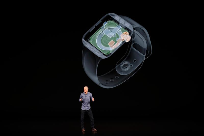 Jeff Williams, Chief Operating Officer of Apple, speaks about the the new Apple Watch Series 4 at an Apple Inc product launch event at the Steve Jobs Theater in Cupertino, California: Reuters