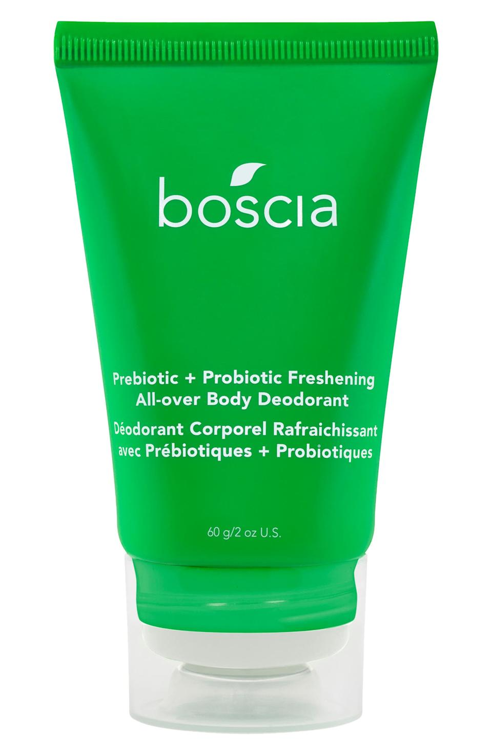 The blend of prebiotics and probiotics inside the Freshening All-Over Body Deodorant by Boscia not only helps to prevent odor-causing bacteria that grows on sweat, it helps to reinforce a healthy biome.