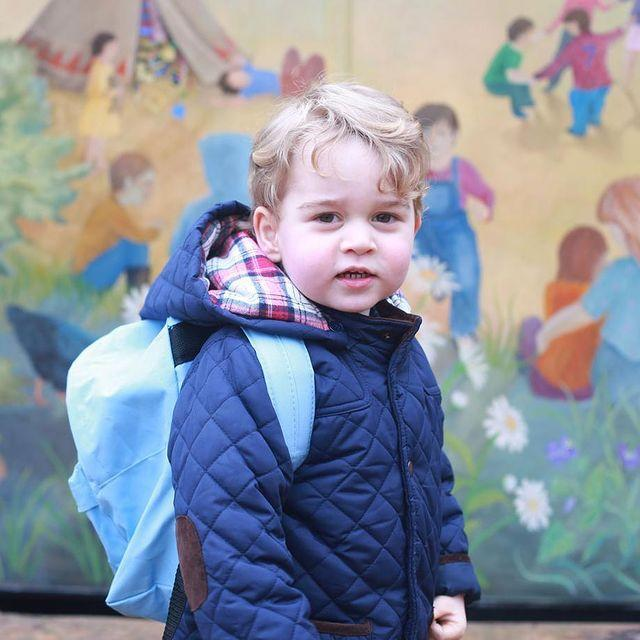 """<p><a href=""""https://www.cosmopolitan.com/uk/entertainment/news/a40462/prince-george-first-day-school-nursery/"""" rel=""""nofollow noopener"""" target=""""_blank"""" data-ylk=""""slk:Prince George's first day at nursery"""" class=""""link rapid-noclick-resp"""">Prince George's first day at nursery</a> was all the way back in January 2016, and he was photographed by mum Kate looking snug wrapped up in a navy quilted coat, and wearing a backpack almost twice his size. So sweet!</p><p><a href=""""https://www.instagram.com/p/BANErIsKZO2"""" rel=""""nofollow noopener"""" target=""""_blank"""" data-ylk=""""slk:See the original post on Instagram"""" class=""""link rapid-noclick-resp"""">See the original post on Instagram</a></p>"""