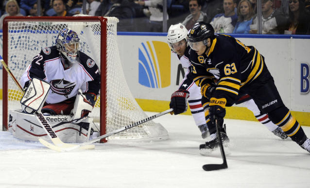 Buffalo Sabres center Tyler Ennis (63) moves in front of the goal as Columbus Blue Jackets defenseman James Wisniewski (21) and goaltender Sergei Bobrovsky (72), of Russia, defend during the first period of an NHL hockey game in Buffalo, N.Y., Thursday, Oct. 10, 2013. (AP Photo/Gary Wiepert)