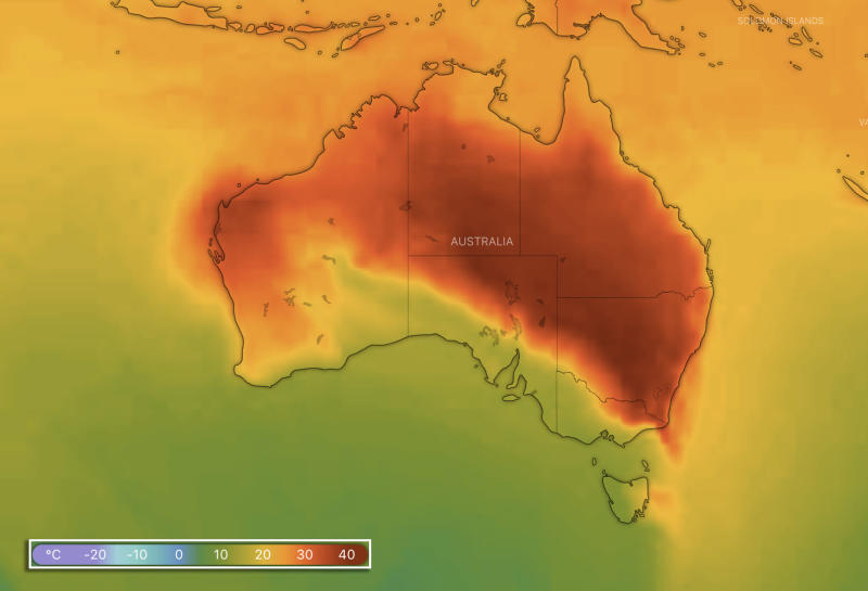 A map showing predicted temperatures across Australia at 4pm on Friday. Source: Windy