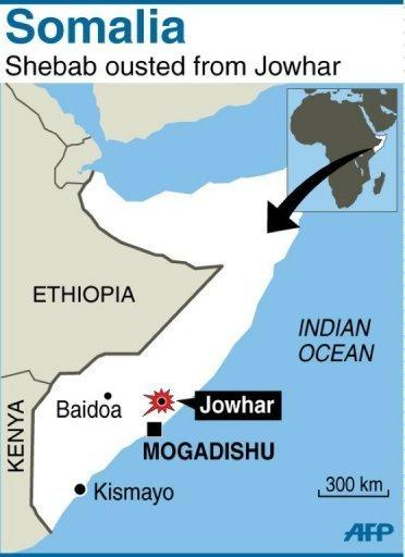 <p>Map of Somalia locating Jowhar within the east African country. African Union troops and Somali forces seized the formerly Islamist-held town of Jowhar Sunday, wresting control of one of the largest remaining towns held by the Al-Qaeda linked Shebab, officials said.</p>