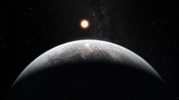 A super-Earth basks in the glow of its star in this artist's impression. Is the world habitable and Earth-like with a watery atmosphere, or is it Neptune-esque, swathed in hydrogen and helium?
