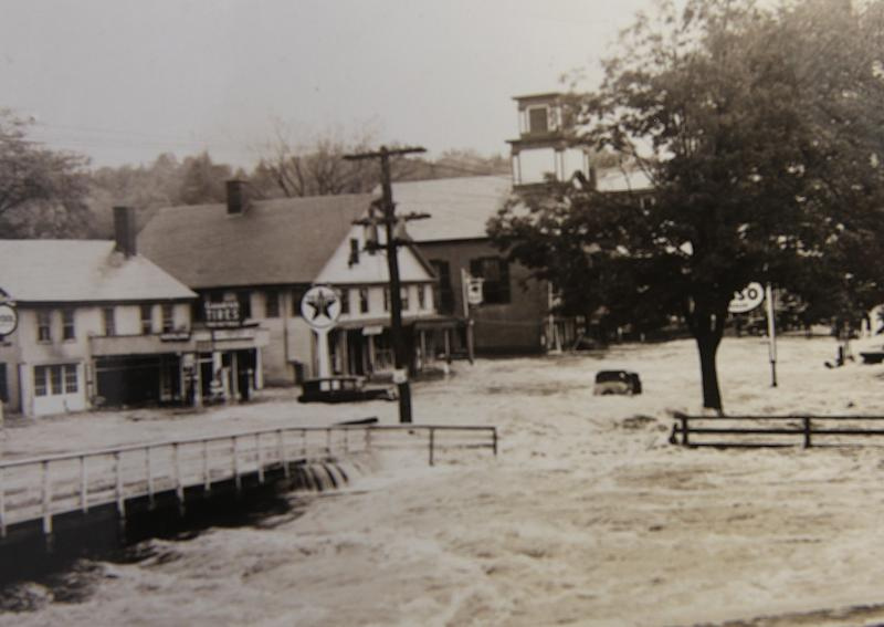 In this photo from the collection of the Monadnock Center for History and Culture, shows flood waters in the center of town in Peterborough, N.H. during the Great New England Hurricane of 1938. Sept. 21, 1938, Seventy-five years ago the hurricane was estimated to have killed between 682 and 800. It remains the most powerful and deadliest hurricane in recent New England history. (AP Photo/Monadnock Center for History and Culture)