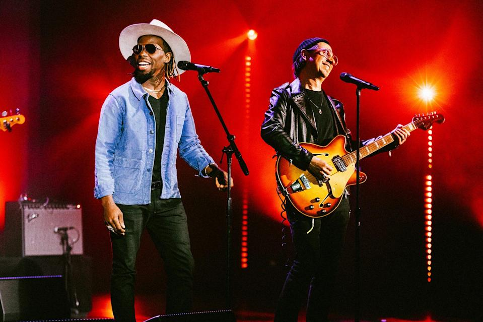 <p>Ahead of the Grammy Awards, Black Pumas perform at The Wiltern in L.A. for a 5G virtual concert exclusively for Verizon Up members on Saturday night.</p>