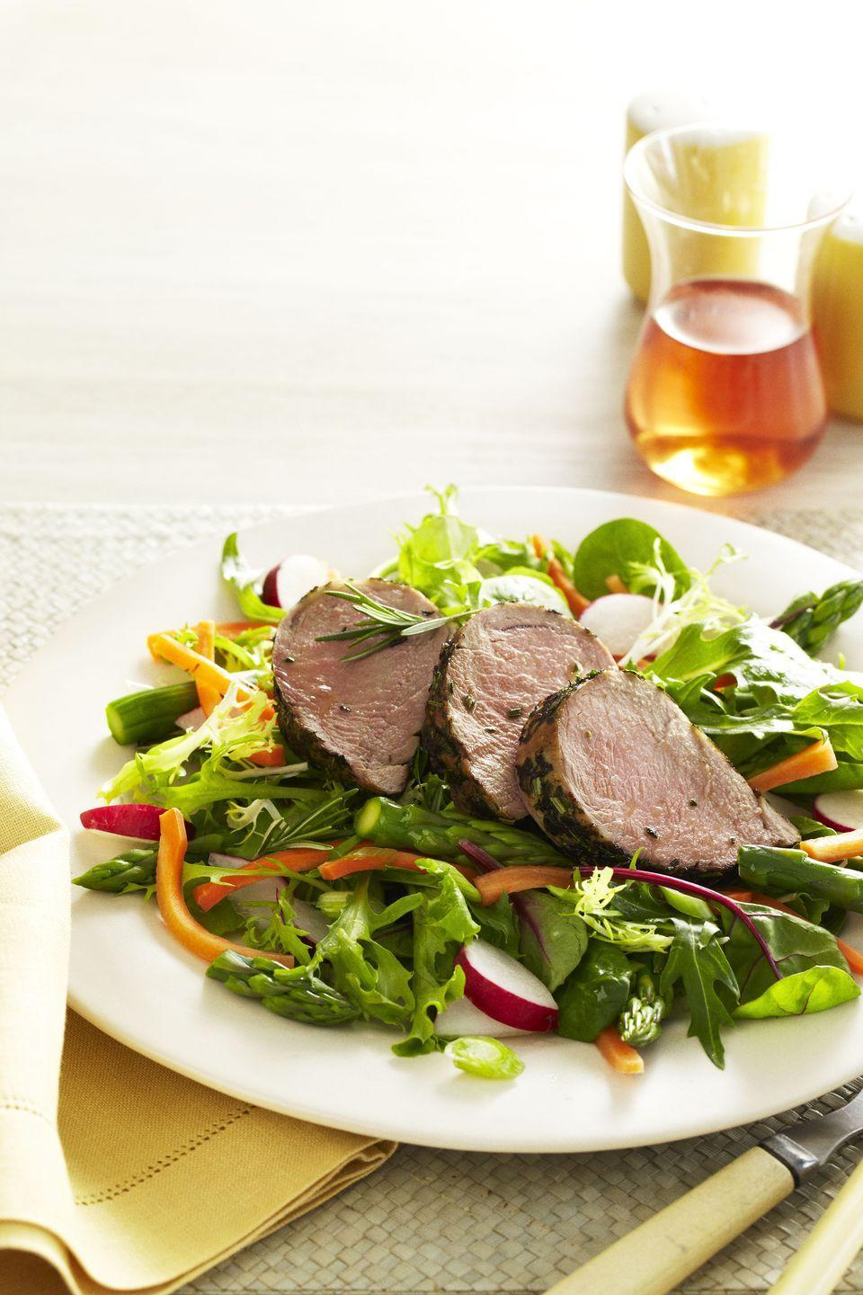 """<p>Roasted pork tenderloin is super versatile; it can be served as the centerpiece of your Christmas feast <em>or </em>simply sliced atop fresh greens. </p><p><em><a href=""""https://www.goodhousekeeping.com/food-recipes/a10949/herbed-pork-medallions-recipe-ghk0511/"""" rel=""""nofollow noopener"""" target=""""_blank"""" data-ylk=""""slk:Get the recipe for Herbed Pork Medallions »"""" class=""""link rapid-noclick-resp"""">Get the recipe for Herbed Pork Medallions »</a></em> </p>"""