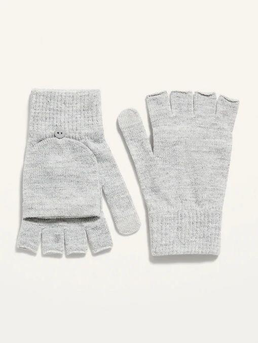 """TheseConvertible Text-Friendly Sweater-Knit Flip-Top Gloves is available one size and two colors. <a href=""""https://fave.co/3pjtM3v"""" target=""""_blank"""" rel=""""noopener noreferrer"""">Get them on sale for 50% off (normally $9) at Old Navy</a>."""