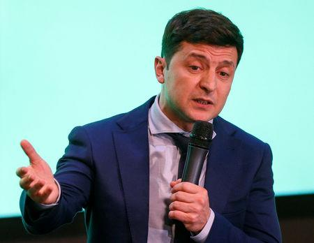 FILE PHOTO: Ukrainian comic actor and presidential candidate Volodymyr Zelenskiy speaks following the announcement of the first exit poll in a presidential election at his campaign headquarters in Kiev