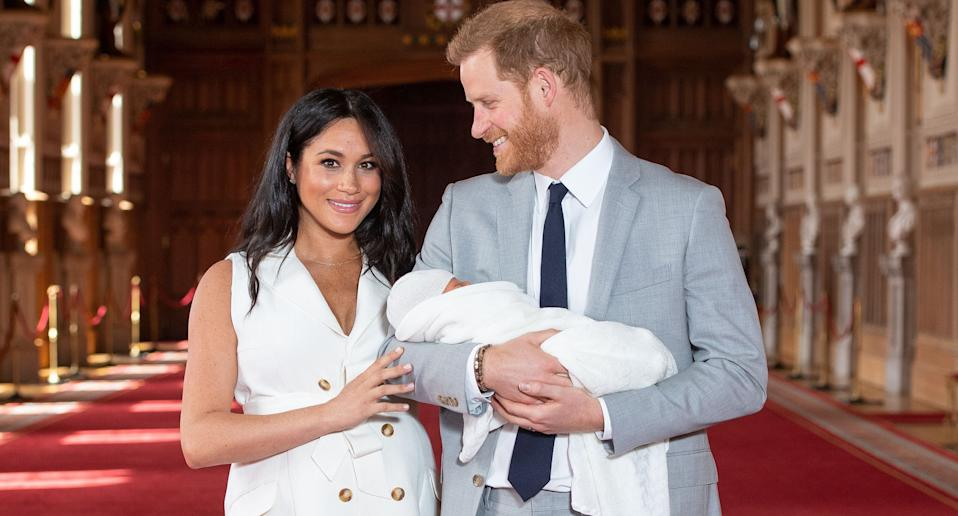 The Duke and Duchess of Sussex and their son. (Photo credit should read DOMINIC LIPINSKI/AFP/Getty Images)