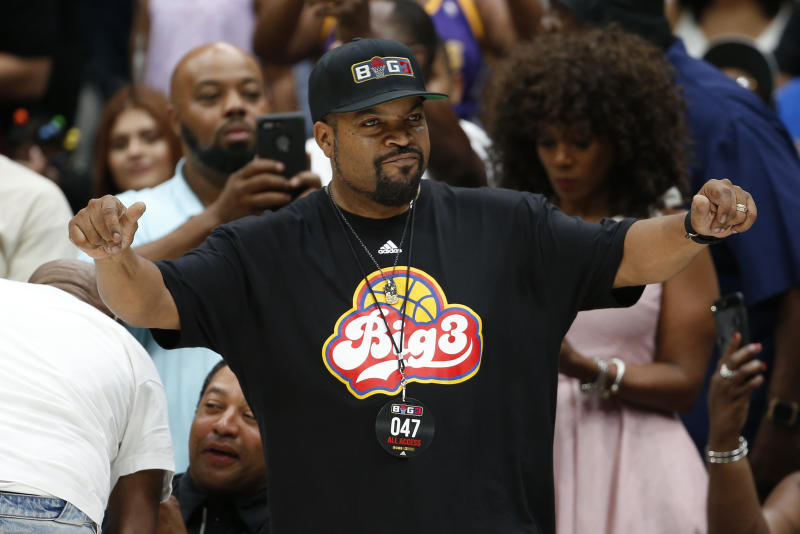 DALLAS, TEXAS - AUGUST 17: BIG3 founder Ice Cube reacts during week nine of the BIG3 three on three basketball league at American Airlines Center on August 17, 2019 in Dallas, Texas. (Photo by Ron Jenkins/BIG3 via Getty Images)