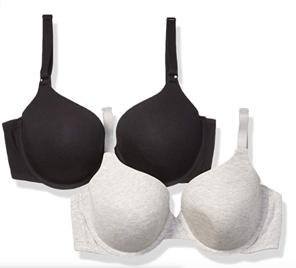 Fruit of the Loom Women's 2-Pack T-Shirt Bra in Black/Heather Grey