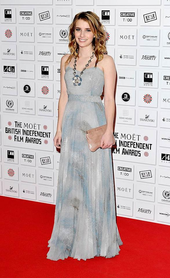 "Emma Roberts -- who you'll soon see on the big screen in ""Scream 4"" -- attended the 2010 British Independent Film Awards in a surprisingly affordable maxi dress, which retails for $160 at Topshop. What a steal! Gareth Cattermole/<a href=""http://www.gettyimages.com/"" target=""new"">GettyImages.com</a> - December 5, 2010"
