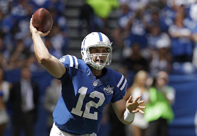 Indianapolis Colts' Andrew Luck (12) throws during the first half an NFL football game against the Miami Dolphins Sunday, Sept. 15, 2013, in Indianapolis. (AP Photo/Darron Cummings)