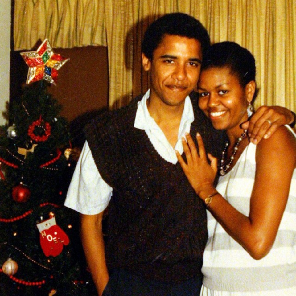 <p>Michelle and Barack celebrate Christmas in the early 90s.<em> [Photo: Michelle Obama/ Instagram]</em> </p>