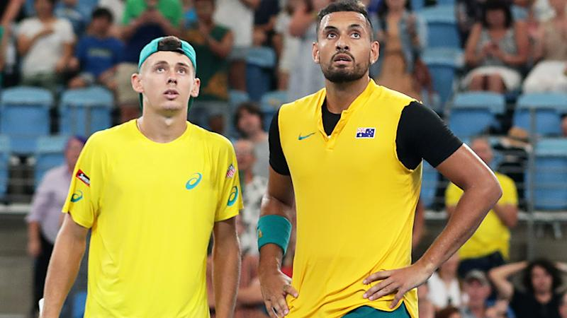 Alex de Minaur and Nick Kyrgios, pictured here in action together in the ATP Cup.