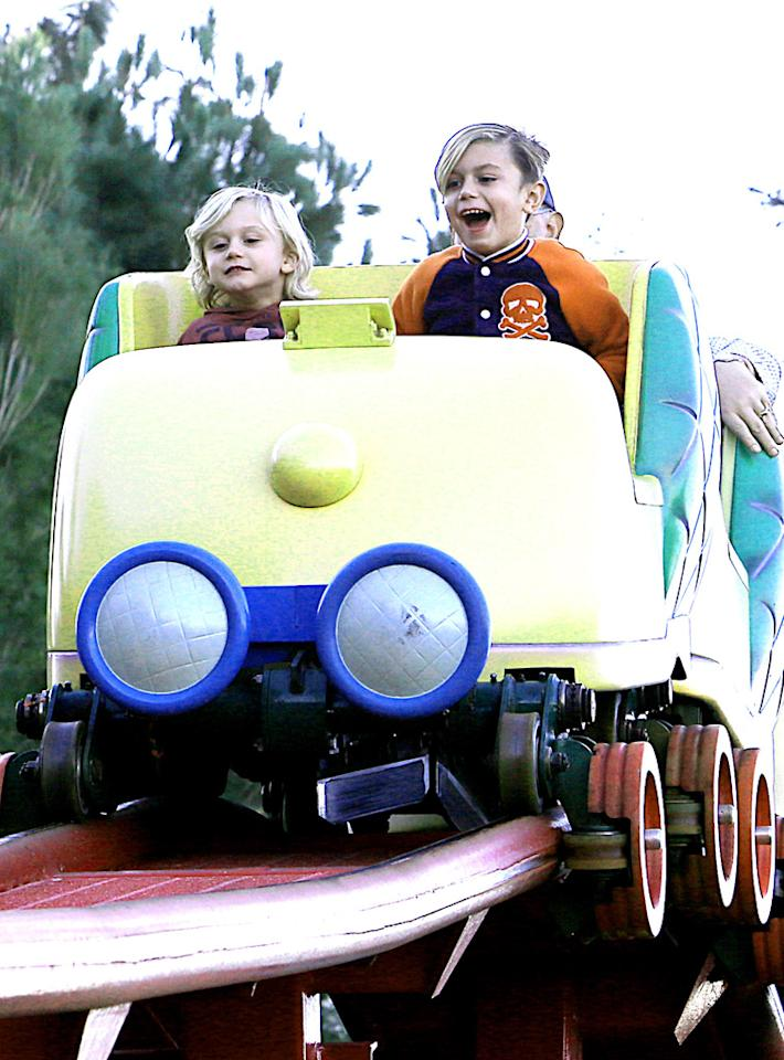 EXCLUSIVE: Gwen Stefani was all smiles while taking a ride on Disneyland's Gadget's Go Coaster with her father Dennis and her two boys Kingston and Zuma. The family rode the roller coaster twice which is located in Toontown. Afterwards, the singer and her kids watched the Christmas parade.  Pictured: Zuma Rossdale, Kingston Rossdale Ref: SPL470591  121212   EXCLUSIVE Picture by: Sharpshooter Images / Splash   Splash News and Pictures Los Angeles:310-821-2666 New York:212-619-2666 London:870-934-2666 photodesk@splashnews.com