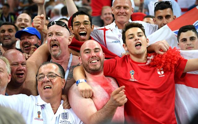 England fans celebrate following their sides victory in the 2018 FIFA World Cup Russia group G match between Tunisia and England - Getty Images Europe
