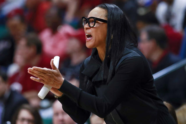 FILE - In this March 22, 2019, file photo, South Carolina head coach Dawn Staley directs her team against Belmont during a first-round women's college basketball game in the NCAA Tournament in Charlotte, N.C. South Carolina's top-ranked recruiting class is on campus and the confident youngsters believe they can get the Gamecocks back to contending for championships. (AP Photo/Jason E. Miczek, File)