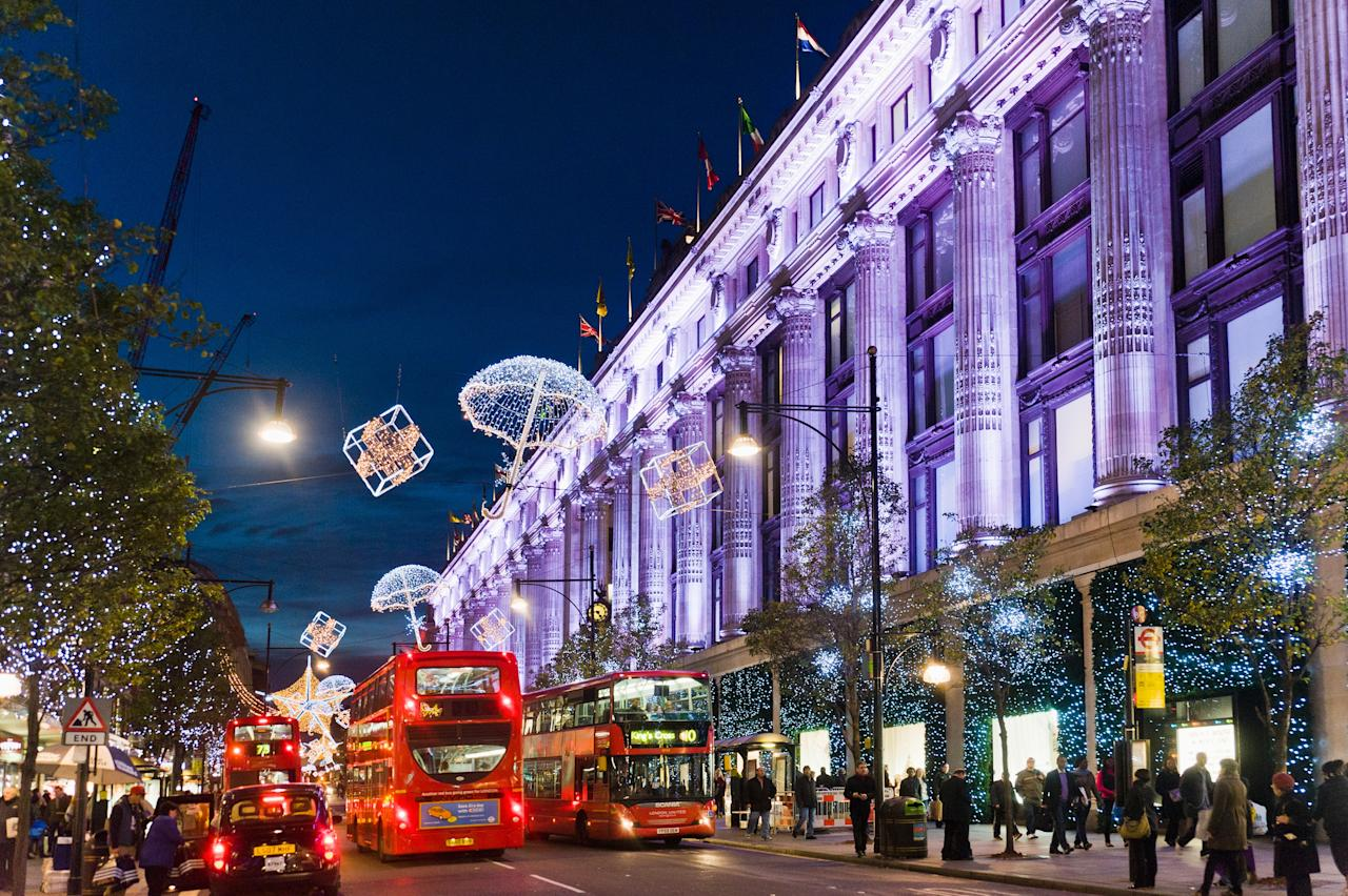 """<a href=""""https://www.cntraveler.com/story/how-to-spend-a-classic-christmas-in-london?mbid=synd_yahoo_rss"""" target=""""_blank"""">London</a> has no shortage of stunning Christmas decorations, but you should move Oxford Street to the very top of your itinerary. The West End street is known for its no-holds-barred light displays year after year—and its impressive line-up of restaurants and shops certainly doesn't hurt (hello, Selfridges). This year, <a href=""""https://www.oxfordstreet.co.uk/festive-feelings/"""" target=""""_blank"""">Oxford Street</a> has a new, shimmering look: 27 LED curtains of lights—a total of 222,000 individual bulbs—which are draped down the length of the street."""